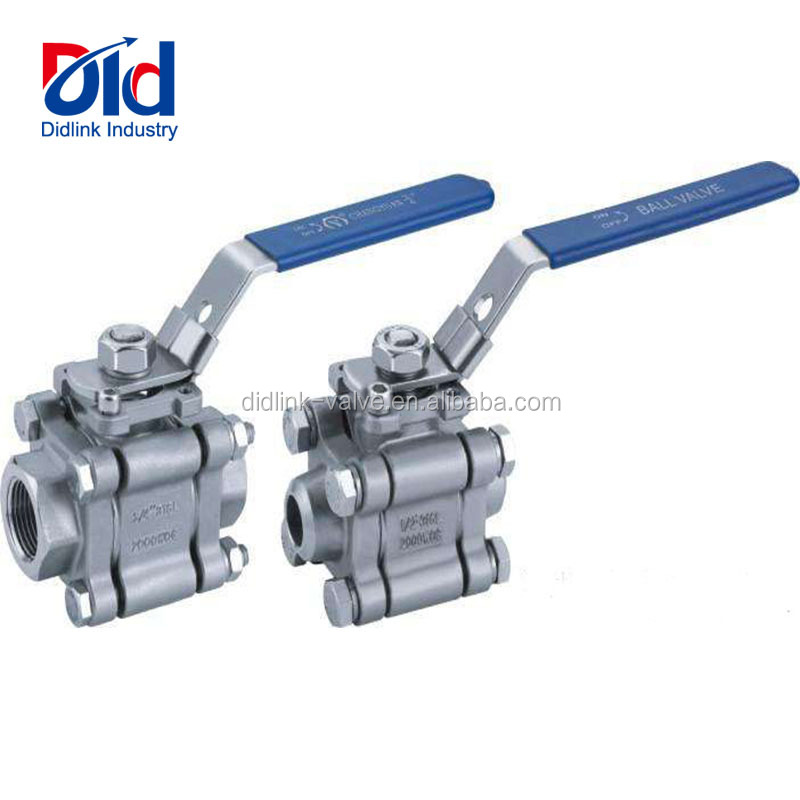 Stainless Steel 3 Pcs 316 Female Thread Direct Mount 1000 WOG Flange Ball Valves