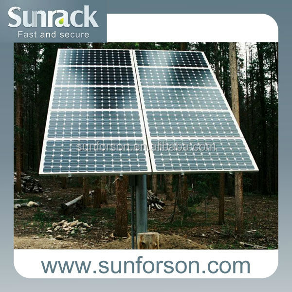Customized Solar Panel Pole Mounting System with Concrete Base or Ground Screw