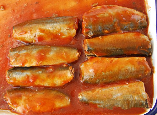 oval tins canned mackerel in tomato sauce with spicy chilli