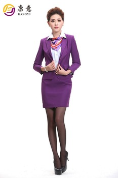 2017 Design Polyester Purple Business Dress Suit Office Skirt For Lady