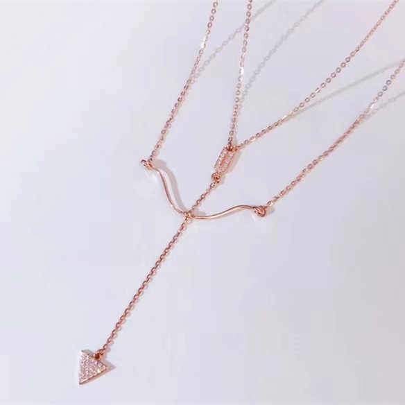 Wholesale 18K gold Diamond Unique Design Dainty Cupid Arrow Shape Pendant Double Necklace for women