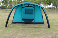 Inflatable windproof camping tent with porch for outdoor activities