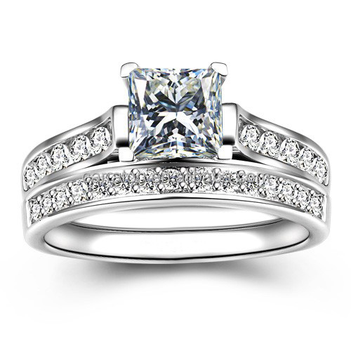 wholesale western 925 silver shining 1ct princess cut bridal wedding ring set
