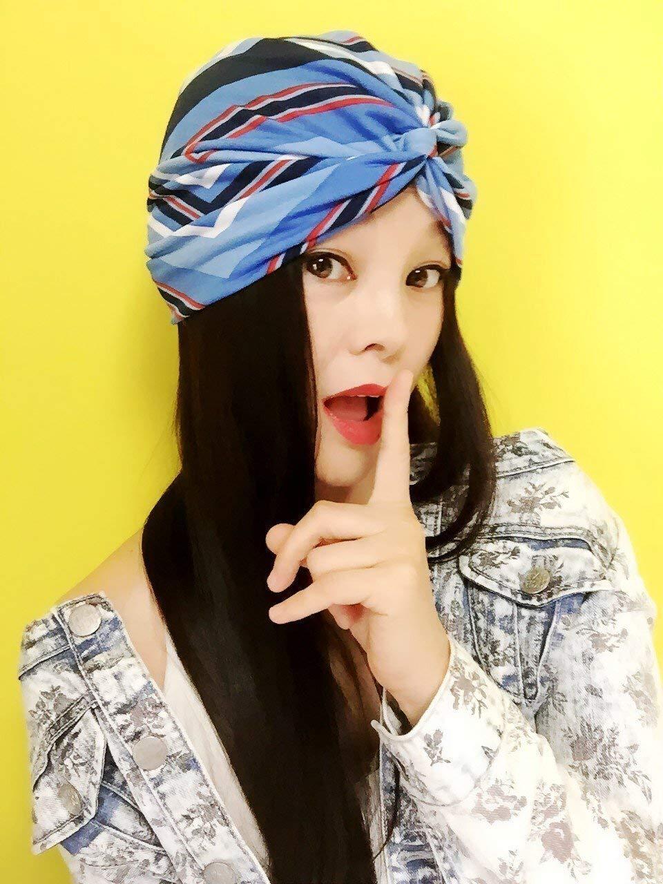 ★★Best Choice And Best Discounts★★Blue lines Turban,Womens Turban,Full Turban,Headband,Turban Hat,Stretch Turban,Fashion Turban,Head Wrap,Scarf,Headbands,Hipster,Fashion,Gift,Show,Party,Holiday