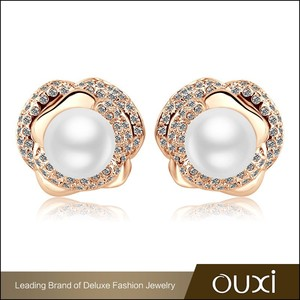 OUXI new design real cheap beautiful nice pearl austrian cristal earrings 21247