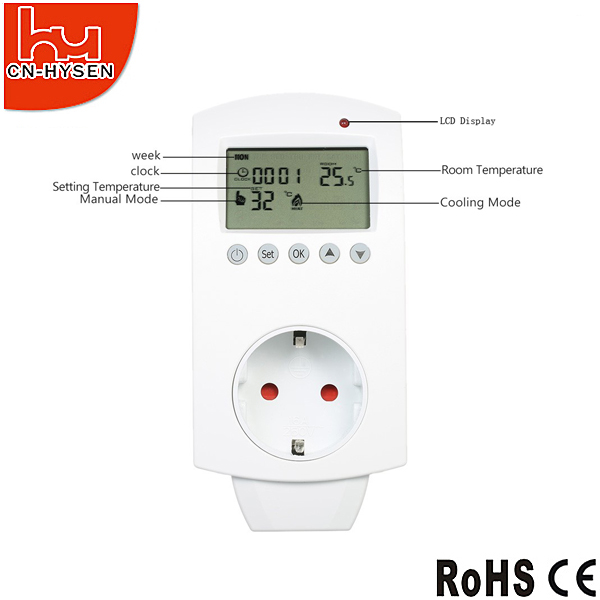 3- pin UK socket plug thermostat switch on sales