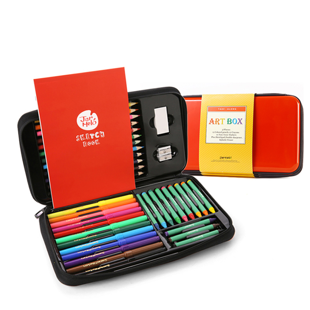 39-Pieces Deluxe Art Box Set in Red Finger Paint Deluxe Set Wooden Color Pencils Colorful Waterpen Crayons Box Set.