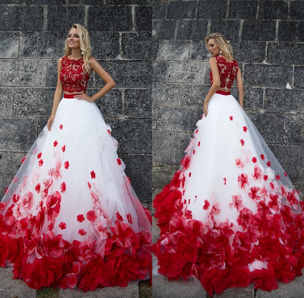 da992d856 QUMO-1001 una línea de dos piezas de rojo y blanco vestido de baile vestido