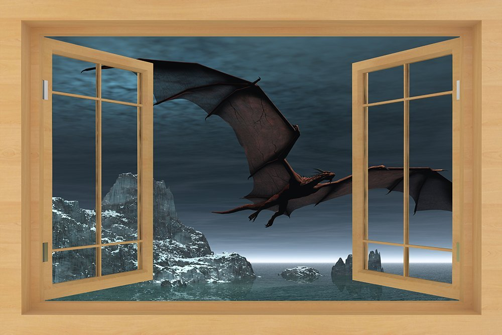"Natural Wood Window Decals, Murals 36"" in X 54"" in - Adhesive Vinyl Just Peel and Stick (Night Dragon)"