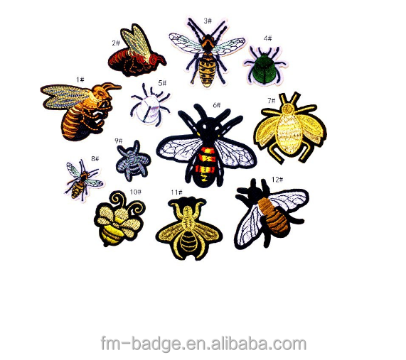 3d colorful cute bee shape embroidery patch,Mix Design Bee Design Embroidered Applique Bee Embroidery Patch