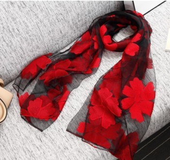Spring summer autumn and winter scarf the silk like scarf lace sunscreen scarf embroidery female wholesale
