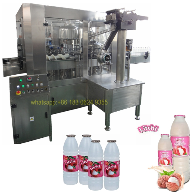 Automatic Lichi Flavoured Drink/ Juice Filling Capping Labeling Line/Heat  Seal Foil Roll Machine