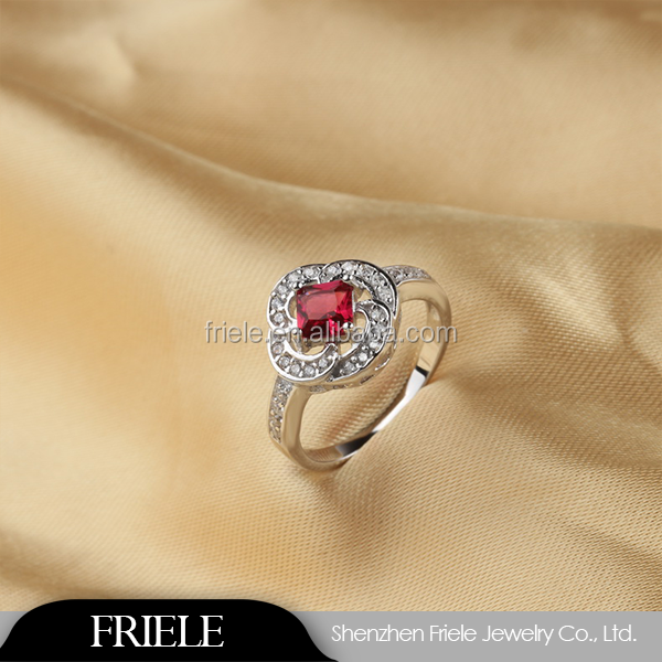 Fashion Design Gold Plated Ruby Crystal Europe Style Zinc Alloy fashion Silver Ring