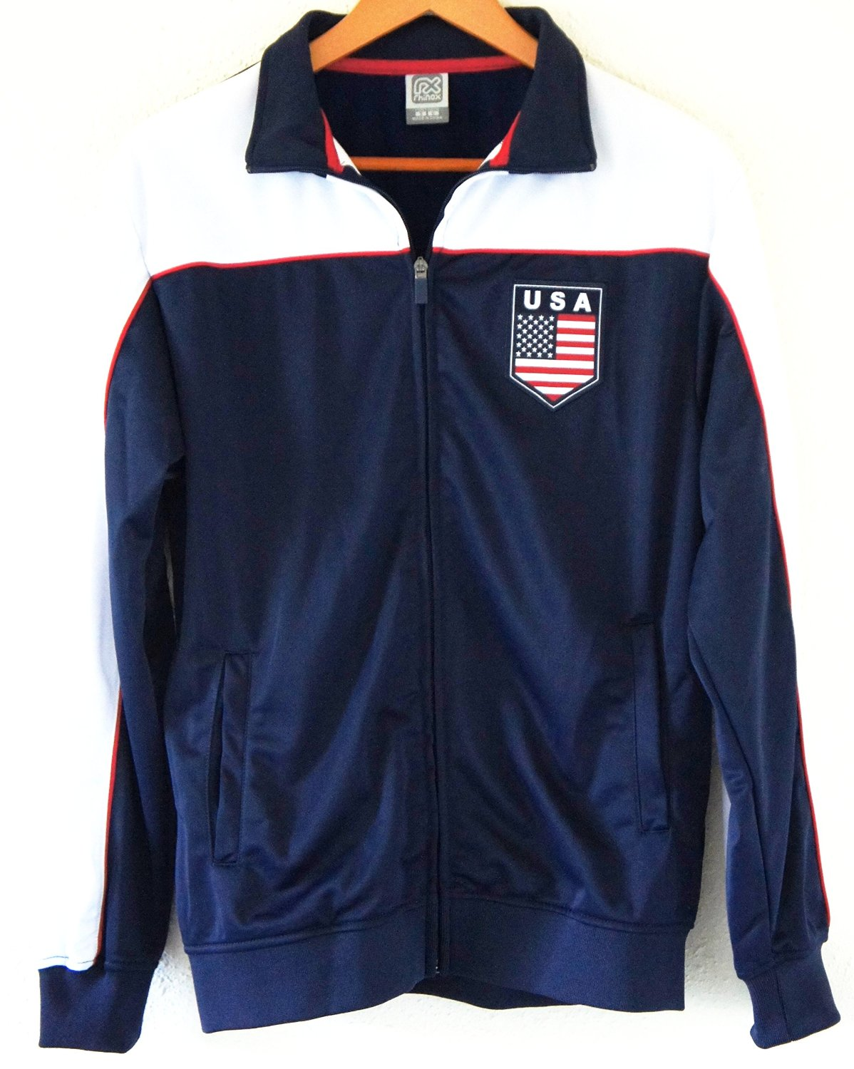 01bfc3dd66e Get Quotations · Soccer Team USA Adult Fashion Soccer Track Jacket NAVY