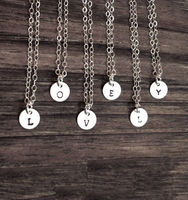 Tiny Customized initial Necklace Hand Stamped Initial Personalized Charm Minimalist Simple