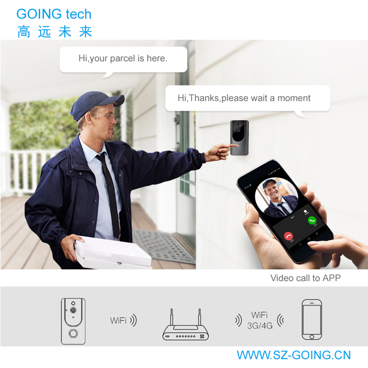 GOING tech new products wifi camera video door bell auto sanp and recording
