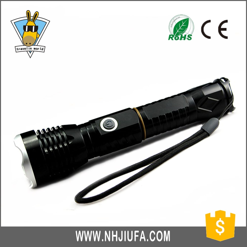 JF Zooming Aluminum Police Rechargeable LED Torch Light Flashlight,long distance zoom flashlight torch,5W dimming flashlight USB