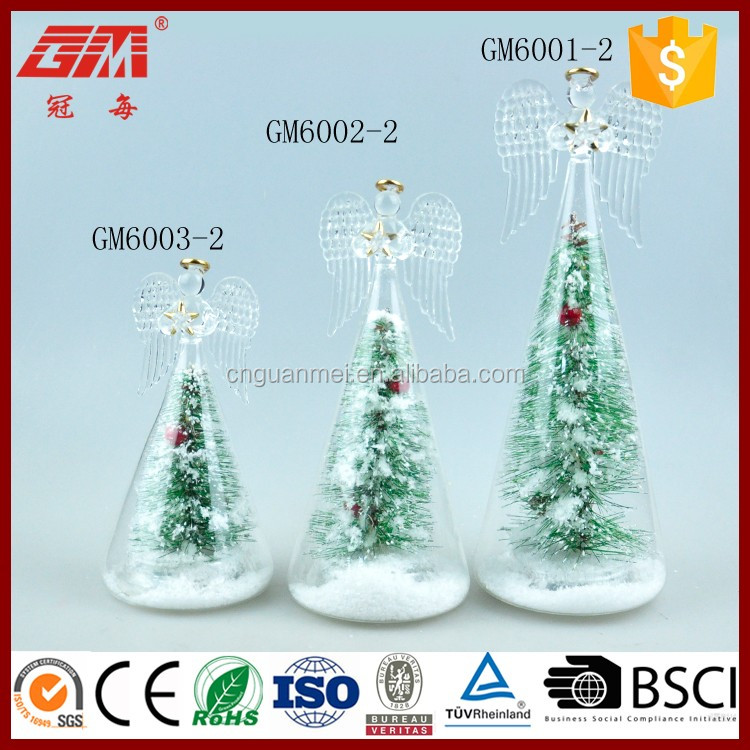 Christmas party decorations LED glass angel with Christmas tree inside