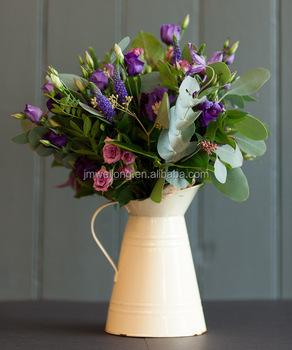 Vintage Cream Galvanized Metal Vase Garden Decoration Water Flower