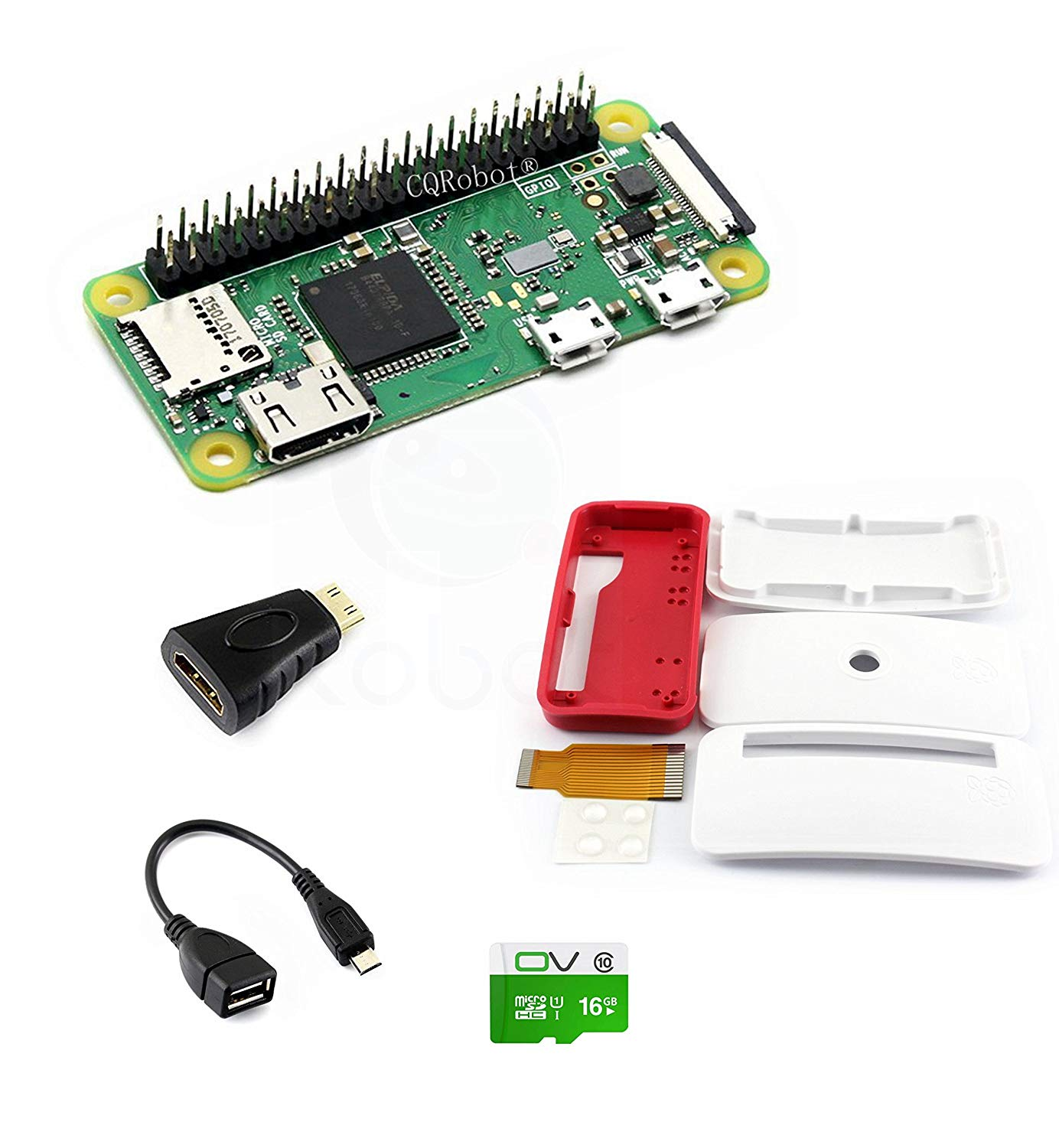 CQRobot Kit B with Official Case for Raspberry Pi Zero WH, Includes: Raspberry Pi Zero WH (Built-in WiFi) Micro SD Card, Mini HDMI to HDMI Adapter, Micro USB OTG Cable and Components.
