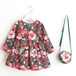 Pictures of girls cotton tops children frocks model designs 1-6 years old baby long sleeve girls dress with bag