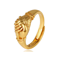 11869 xuping adjustable open style african costume shake hands shape ring gift for women