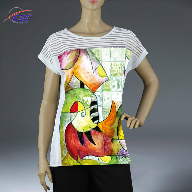 Provide OEM service women short sleeve printing high quality t-shirt