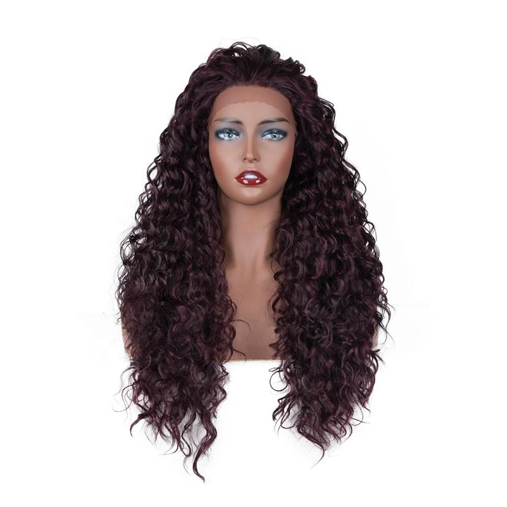 Wholesale Long Curl 99J Heat Resistant Synthetic Lace Front Wig For Black Women