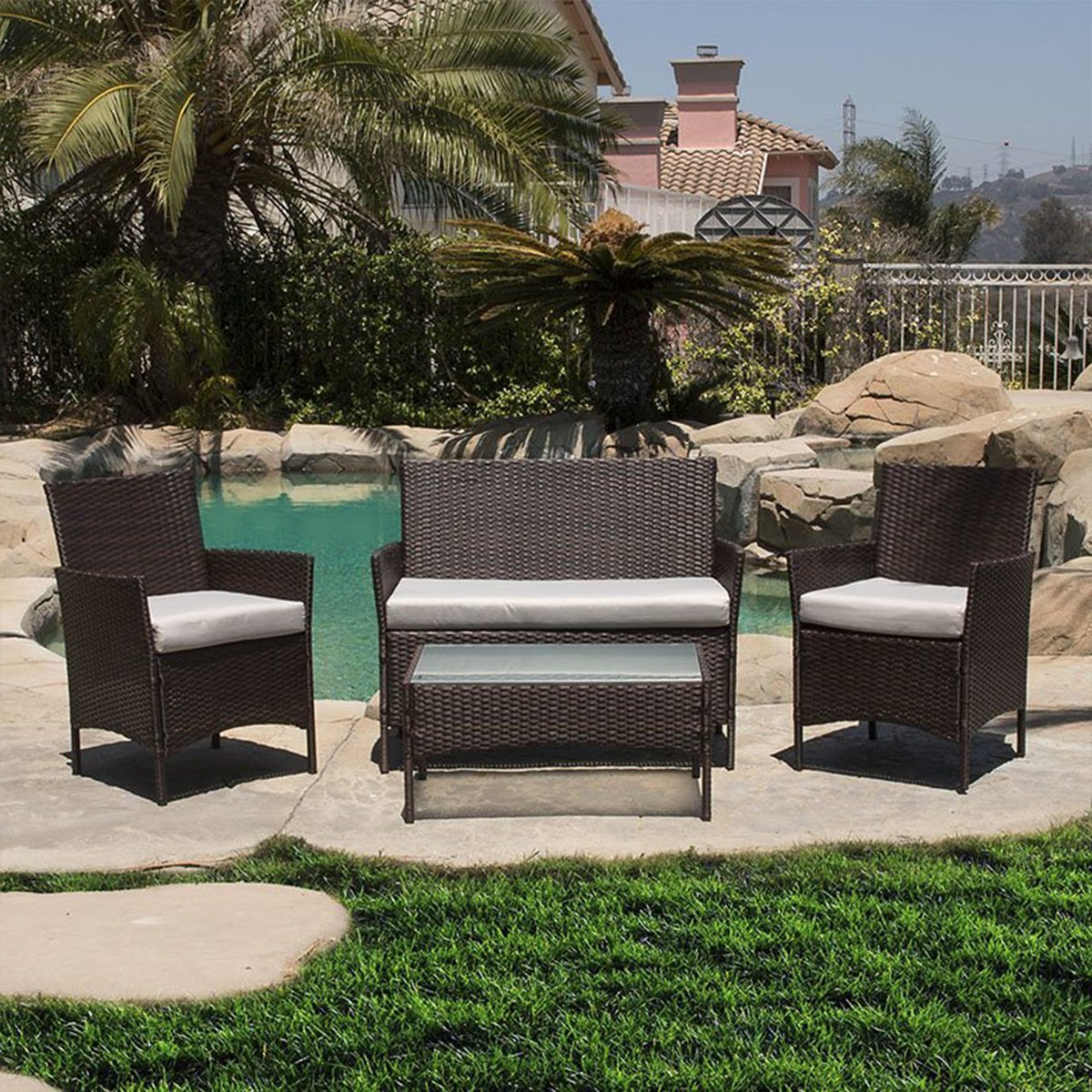 Outdoor Patio Furniture Set Cushioned 4 Pieces Wicker Patio Set Table, Two Chairs and a Sofa Brown Finish with Light Khaki Cushions Outdoor Furniture Lawn Rattan Garden Set