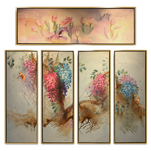 Best selling Chinese style birds and flowers 5 Piece Canvas Art Hand wall painting
