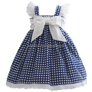 western children clothing Blue Plaid pinafore style dress for little girl