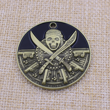 Custom Round Antique Bronze Metal Token Pirate Coin/3D Souvenir Coin