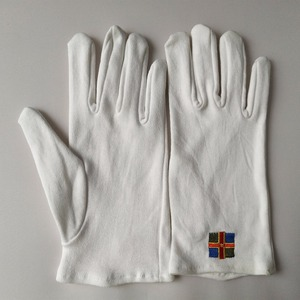 Custom logo gloves 100% white cotton sewn gloves embroidery logo gloves