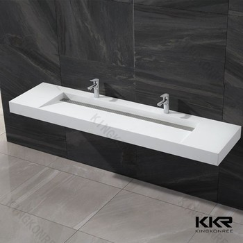 Wall Mounted Stone Trough Sink With Two Faucets Buy Stone