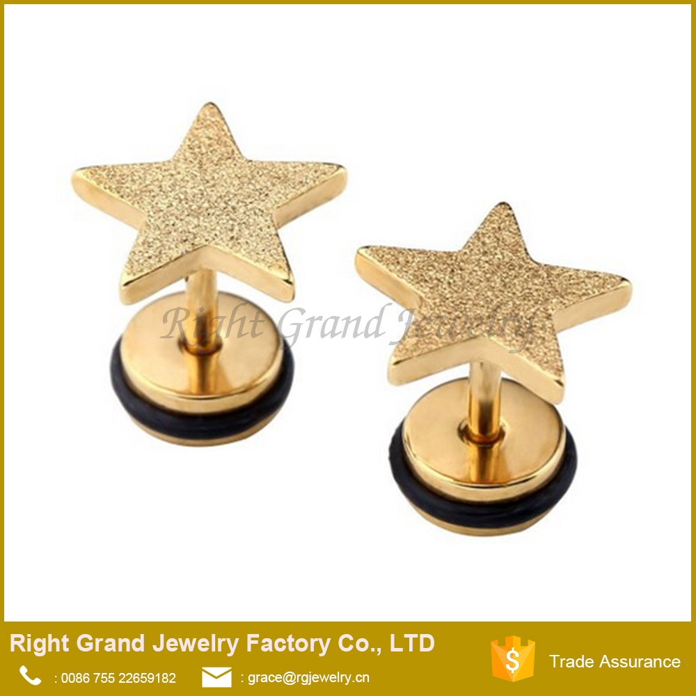 Factory Good Price Fashion Star Steel Fake Plugs Jewelry For Unisex