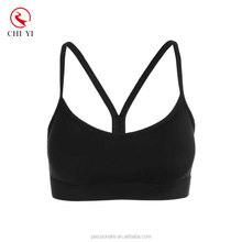Manufacturer wholesale custom made womens activewear printed black sports bra top