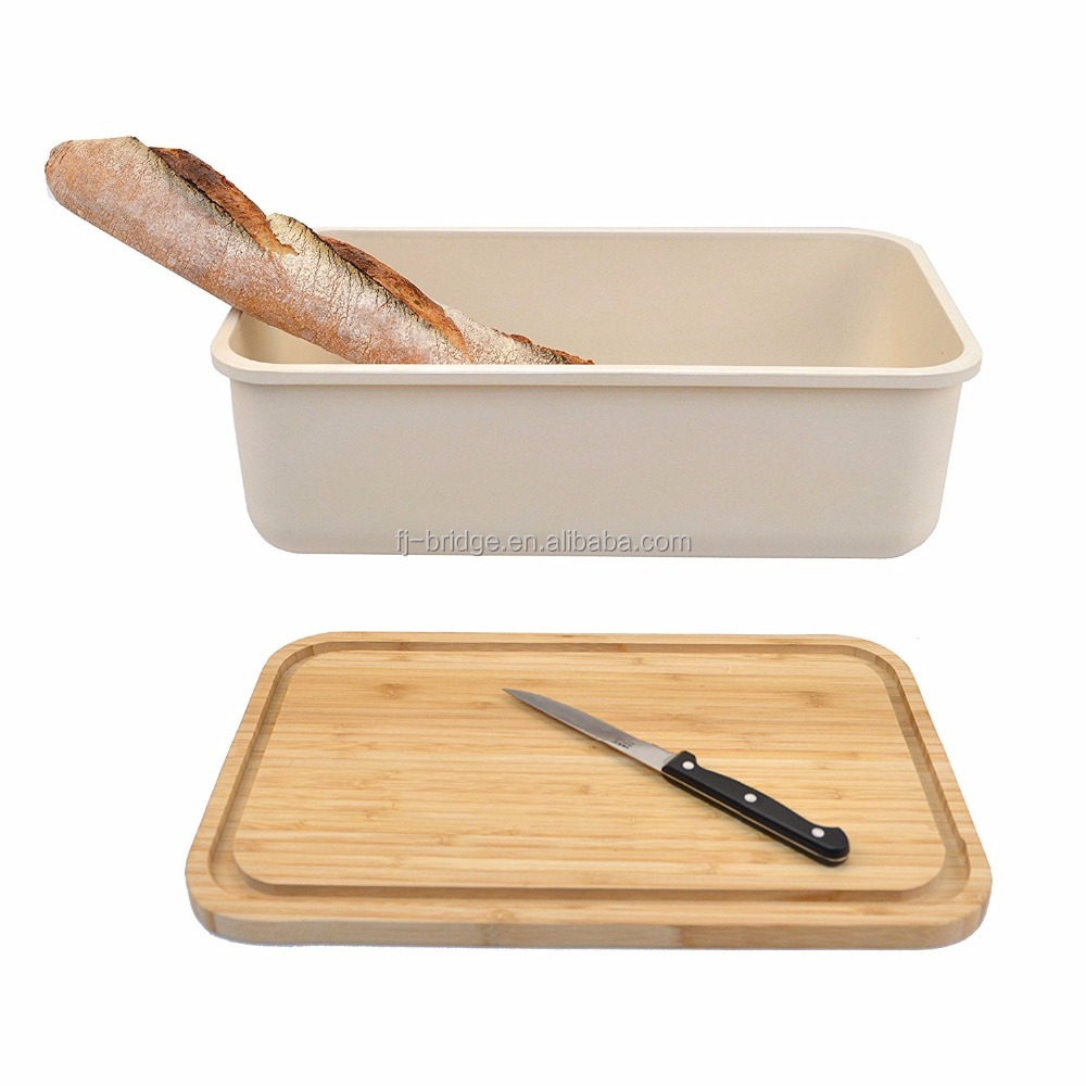 Double Kitchen Bamboo Fiber Bread Storage Box Bin With Cutting Board Lid  For Food Storage Containers   Buy Bread Box,Bamboo Bread Box,Bamboo Fiber Bread  Box ...