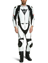 Stylish White/Black Biker Motorcycle Jacket 2-Piece Leathers Trouser Suit - 100% Genuine Leather