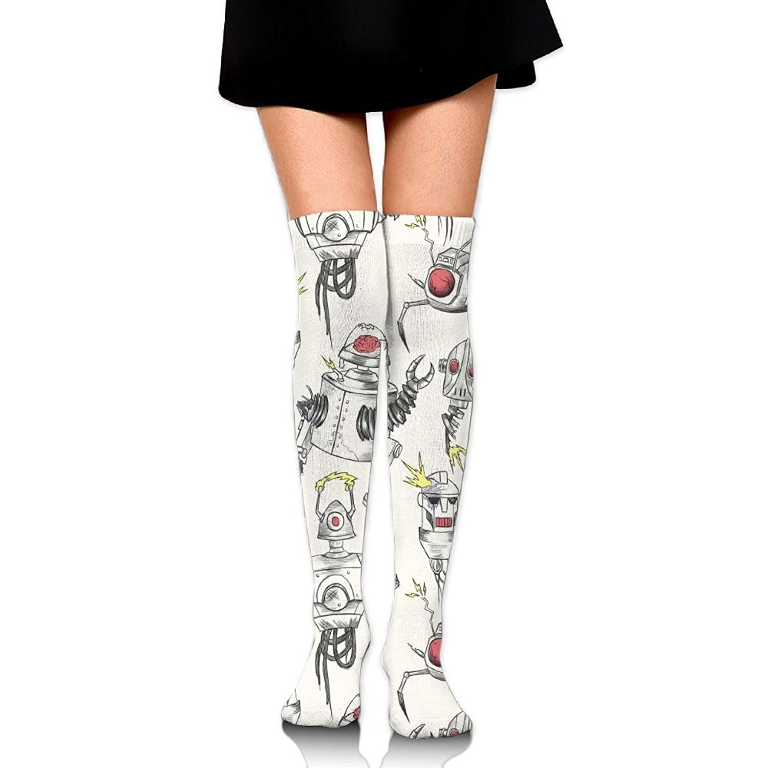 Zaqxsw Color Robot Women Retro Thigh High Socks Cotton Socks For Womens
