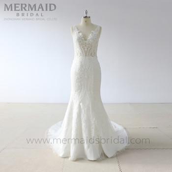 c9f62f288b Mermaid V-neck Applique Lace Open Low Back Wedding Dresses - Buy ...