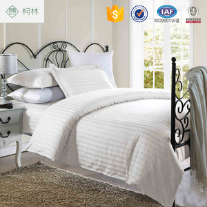 Top selling cheap price luxury 5 star hotel motel 100% cotton stripe hotel bedding set