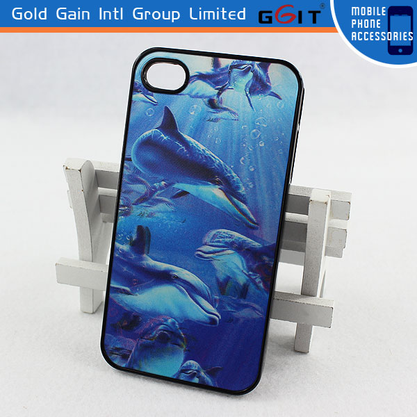 Fashionable 3D Dolphin Image Case For Iphone 4S 3D Cover