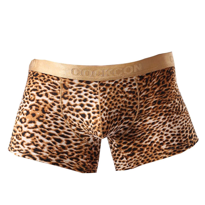 b11660b69dbf Get Quotations · WEI QIU Men's Sexy Leopard Print Pouch Boxers Low Rise  Underwear Shorts