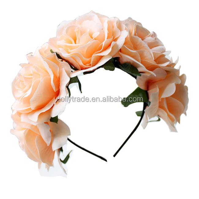 New Arrival Apricot Rose Flower Crown Headband for Girls
