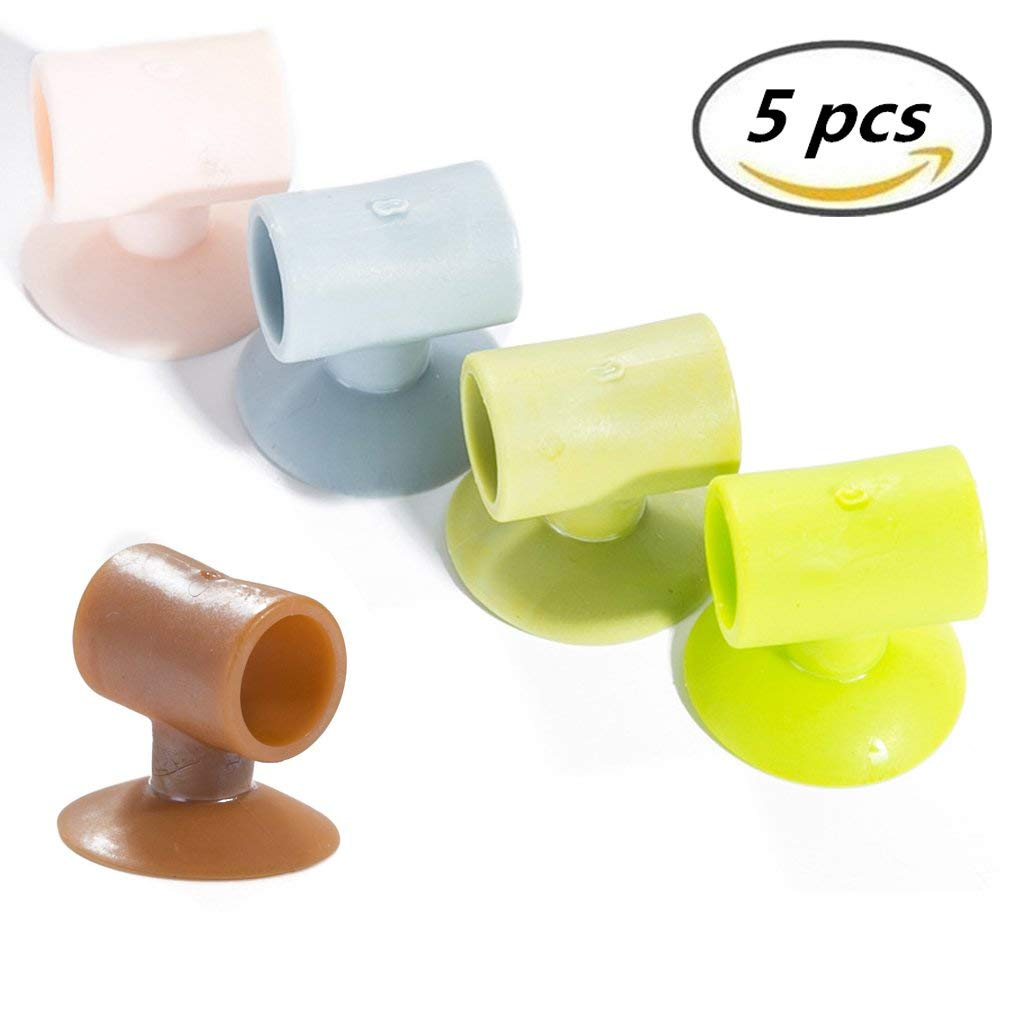 Silicone Door Stopper 5 Pack Perforation Free and Mute Suction Handle Knob Anti-collision Door Stopper