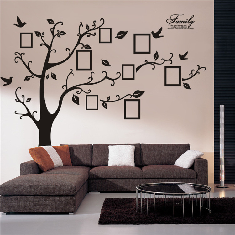 Myway स्टॉक बड़े 180*250 Cm/79 * 99in काले DIY पीवीसी स्वयं चिपकने वाला परिवार स्मृति पेड़ पीवीसी 3d दीवार स्टिकर गृह सजावट