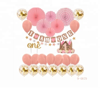 I Am One Banner Paper Fan Gold Crown Pink Girl 1st Birthday Party