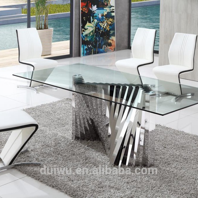 Modern dining room furniture german style clear tempered glass dining table