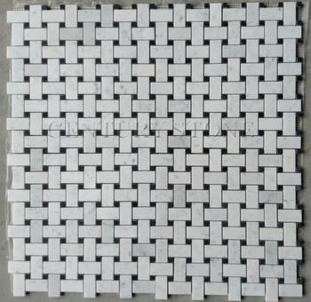 White Carrara Marble Italian Bianco Carrera Basketweave Mosaic Tile - Carrara basketweave tile gray dot