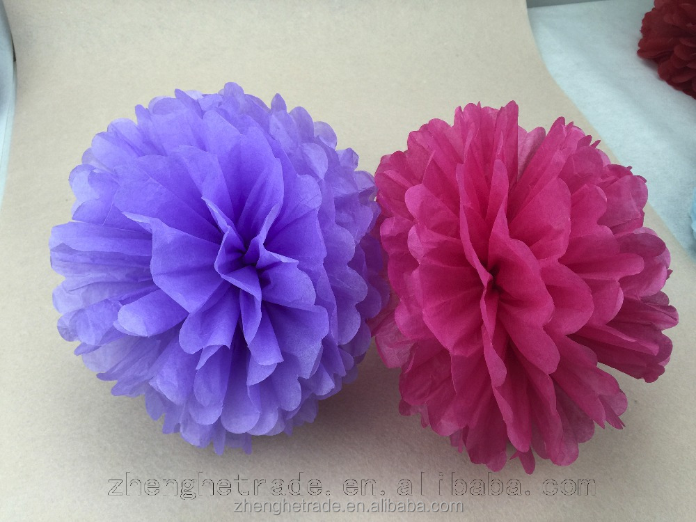 Red and purple wedding decoration tissue paper pom poms